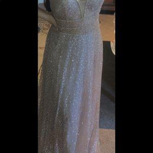 Rose Gold V- Neck Prom Dress